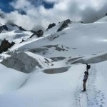 Approaching the Crevasses on the Glacier du Geant