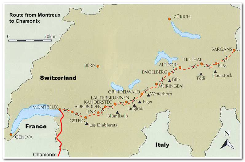 Map showing the Alpine Pass Route from Sargans to Montreux and the 2007 route from Montreux to Chamonix